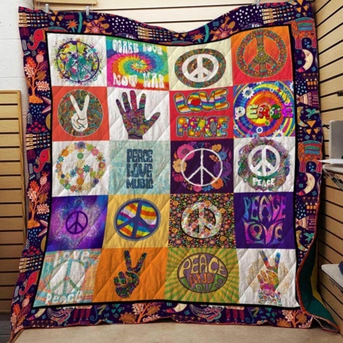 Love Peace Music Blanket Quilt
