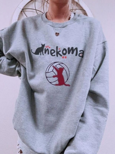 Cat Nekoma Print Sweatshirt