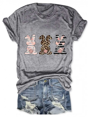 Blush Floral Leopard Cheetah Stripes Rabbit Easter Tee