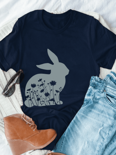 Flowers In Bunny Shadow Tee