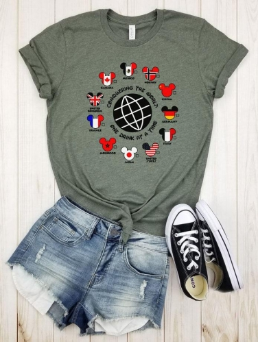 Conquering The World One Drink At A Time Countries Tee