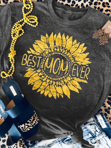 Best Mom Ever Sunflower Distressed Print Tee